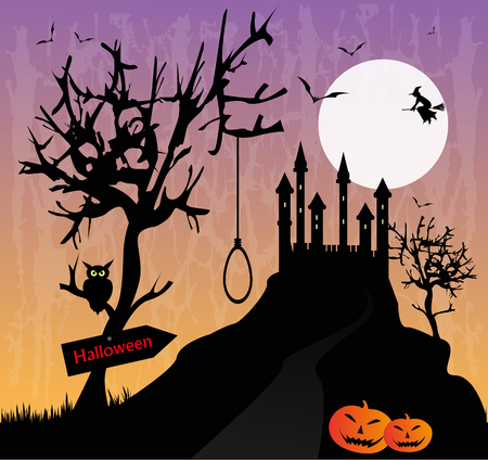 macabre landscape with castle Stock Vector - 23283704