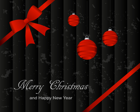 Christmas and New Year greeting card on abstract background