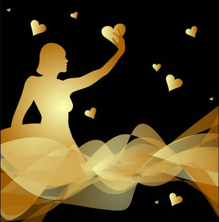 abstract woman silhouette with  hearts Illustration