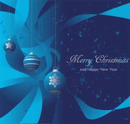Christmas card with balls on a blue background Illustration