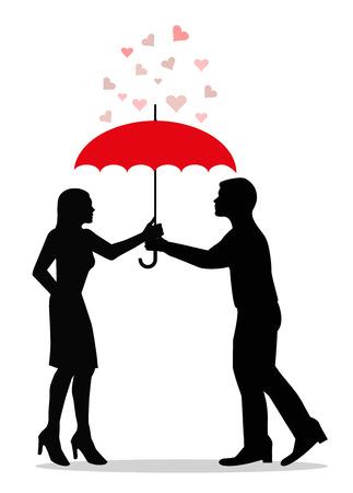 Shy couple in love under the same umbrella Stock Vector - 23469841