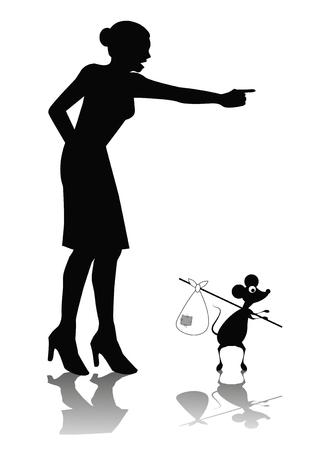 dibujos de humor de una mujer gritando a un ratón Foto de archivo - 23469844