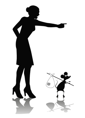 mouse trap: humorous cartoon of woman shouting to a mouse Illustration
