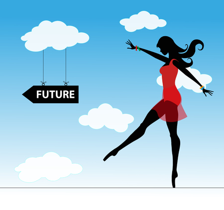difficulties: girl runs through the difficulties a rope into the future Illustration