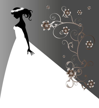 bride silhouette on floral background Stock Vector - 23662235