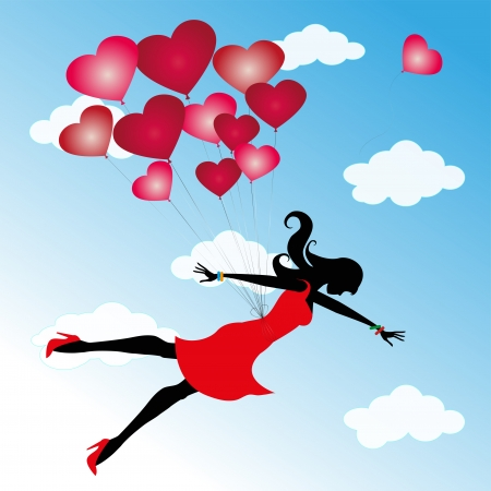 love makes you fly high in the sky Vector