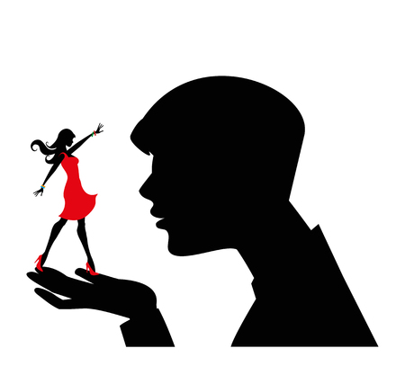 silhouette that has a girl in his hands Stock Vector - 23868446