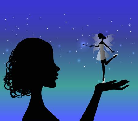 girl silhouette holding a fairy Stock Vector - 23871915