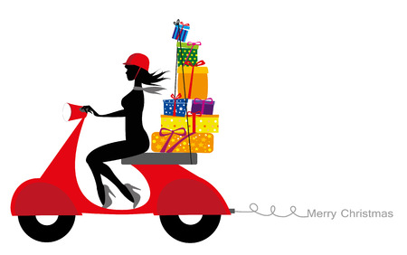 girl silhouette on motorcycle carrying gifts Illustration