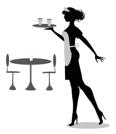Silhouette der Kellnerin mit Tablett und Tassen Illustration