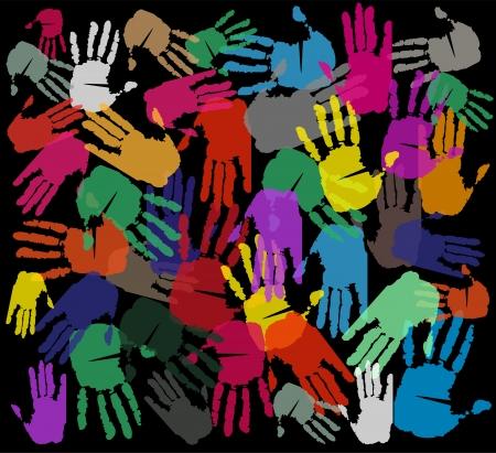 su: mani su sfondo nero