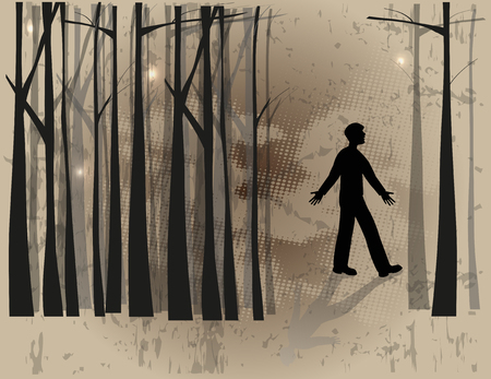 boy silhouette lost in the woods Illustration