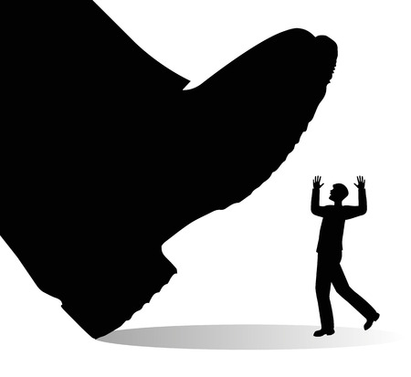 crushing: Giant shoe is about to trample a man