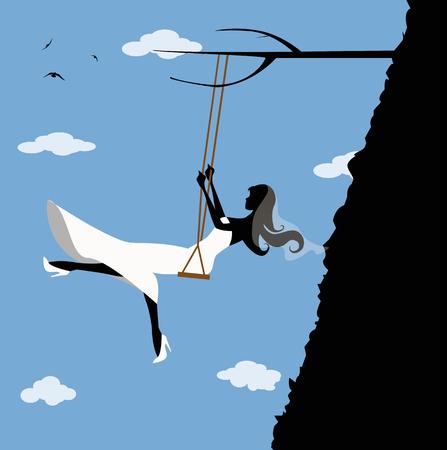 precipice: bride in swing on a precipice