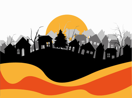 residential neighborhood: village silhouette on abstract background