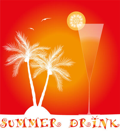 summer cocktail with palm trees at sunset