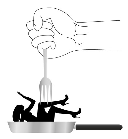 insulting: symbolic illustration on violence against women