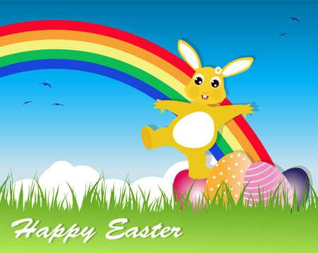 Ostern Gru�karte mit Kaninchen und Regenbogen