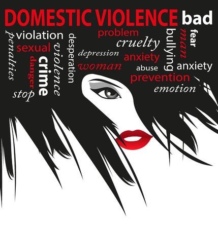 violencia familiar: Alto a la violencia dom�stica contra la mujer Vectores