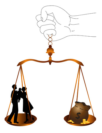 symbolic illustration with justice balance  the value of family Illustration