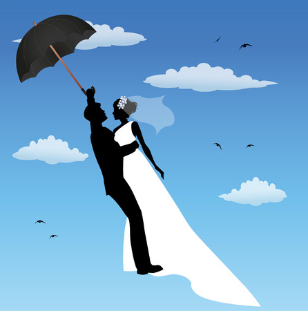 spouses: married couple flying in the sky with umbrella Illustration
