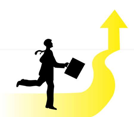 towards: businessman running towards a finish line