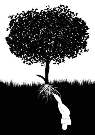 ser humano: ser humano crece alimentado subterr�neo de un �rbol