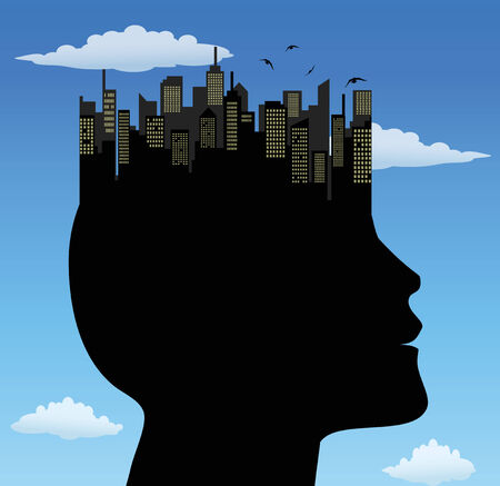 man profile with city on the head Illustration