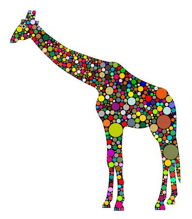 Giraffe von farbigen Kreisen zusammengesetzt