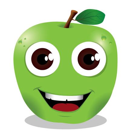 green apple cartoon style