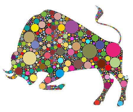色によって構成される牛の図  イラスト・ベクター素材