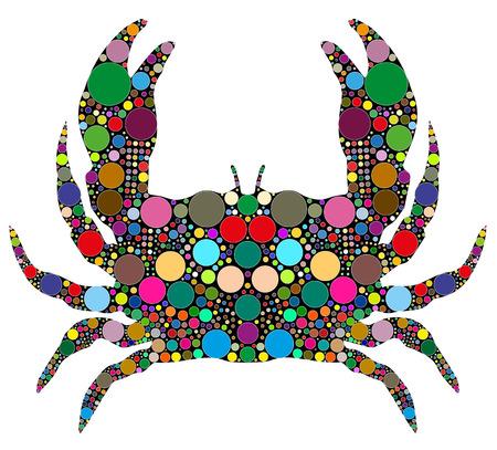 crab consists of colored circles Vector