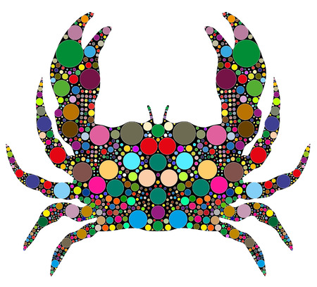 pincers: crab consists of colored circles Illustration