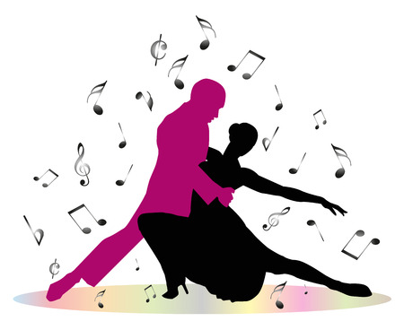 Tango dancers and musical notes