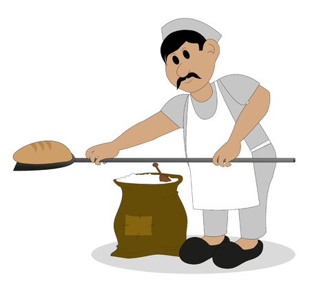 baker cartoon: baker who bakes bread