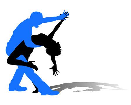 bailar salsa: silueta de bailarines en danza latina