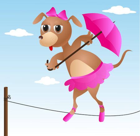 dog acrobat on rope with pink umbrella