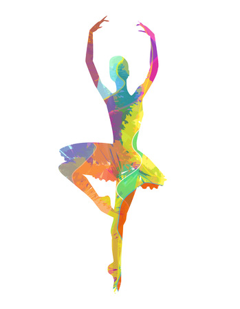 abstract vector silhouette dancing girl