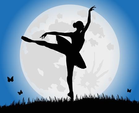 volle maan: vector silhouet dansend meisje en volle maan