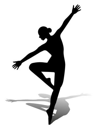 vector silhouette dancing girl Illustration