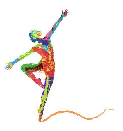 抽象的なベクトル踊る女の子