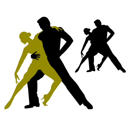 silhouette of couple dancing tango argentino Illustration