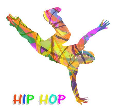 白い背景の上の抽象的なヒップホップ ダンサー