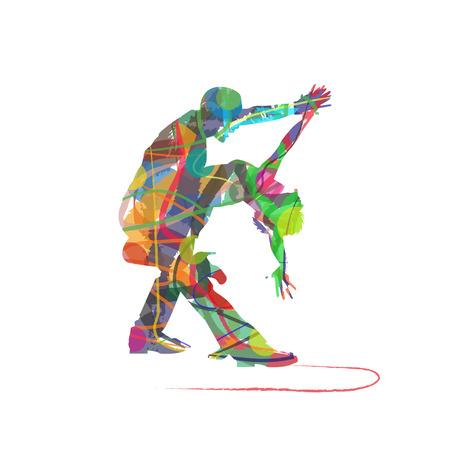 白い背景の上の抽象的なタンゴ ダンサー