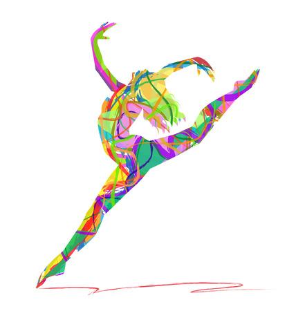 bailarines silueta: bailarín abstracto sobre un fondo blanco