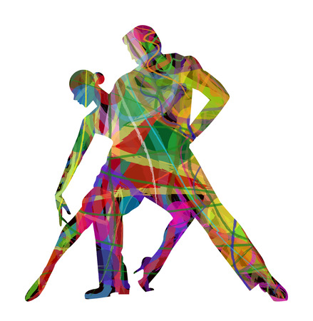 ballroom dancing: abstract  dancers on a white background Illustration