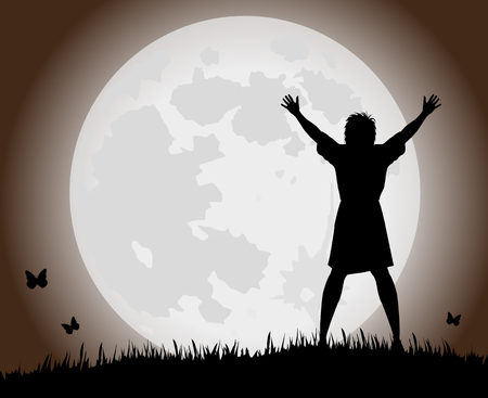 silhouette of woman and full moon