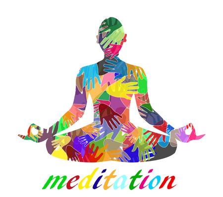 Silhouette Meditieren von farbigen H�nden zusammen