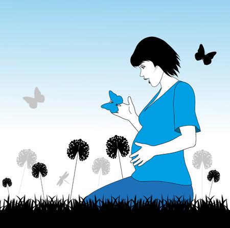 schwangere Frau in einer Wiese mit Schmetterlingen Illustration