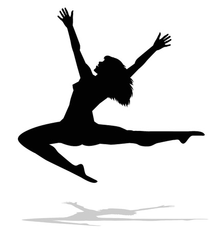 dancer silhouette: silhouette of dancer from behind Illustration